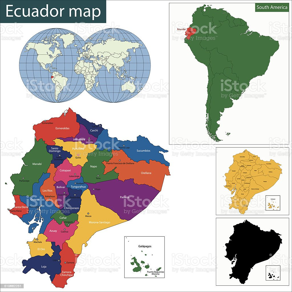 Ecuador map vector art illustration