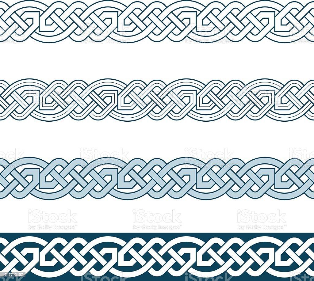 Edges of medieval style(Celtic knot) vector art illustration