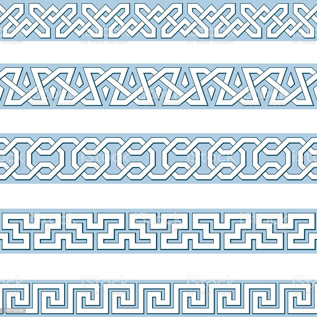 Edges of medieval style vector art illustration