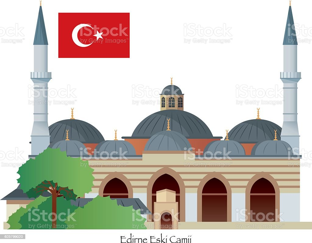 Edirne Mosque vector art illustration