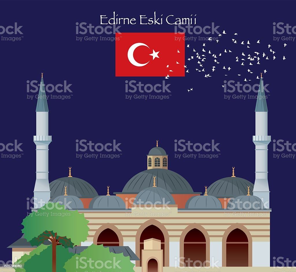 Edirne Mosque vector art illustration