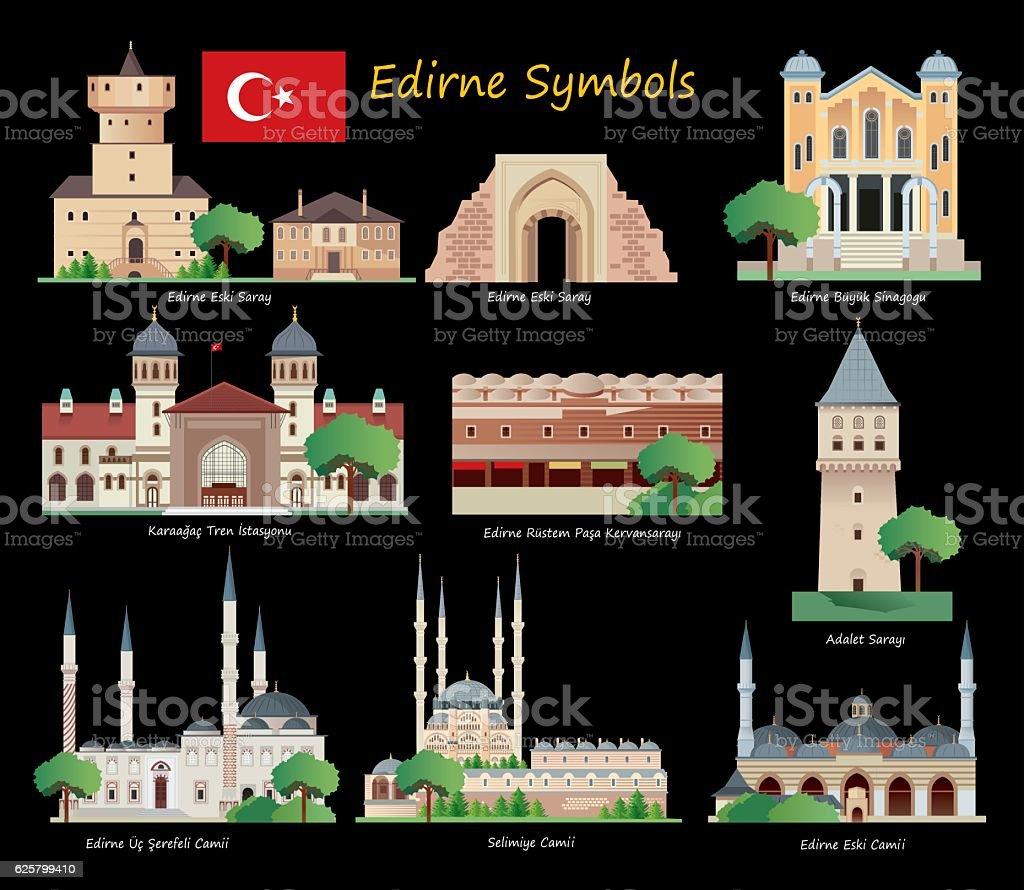 Edirne Symbols vector art illustration