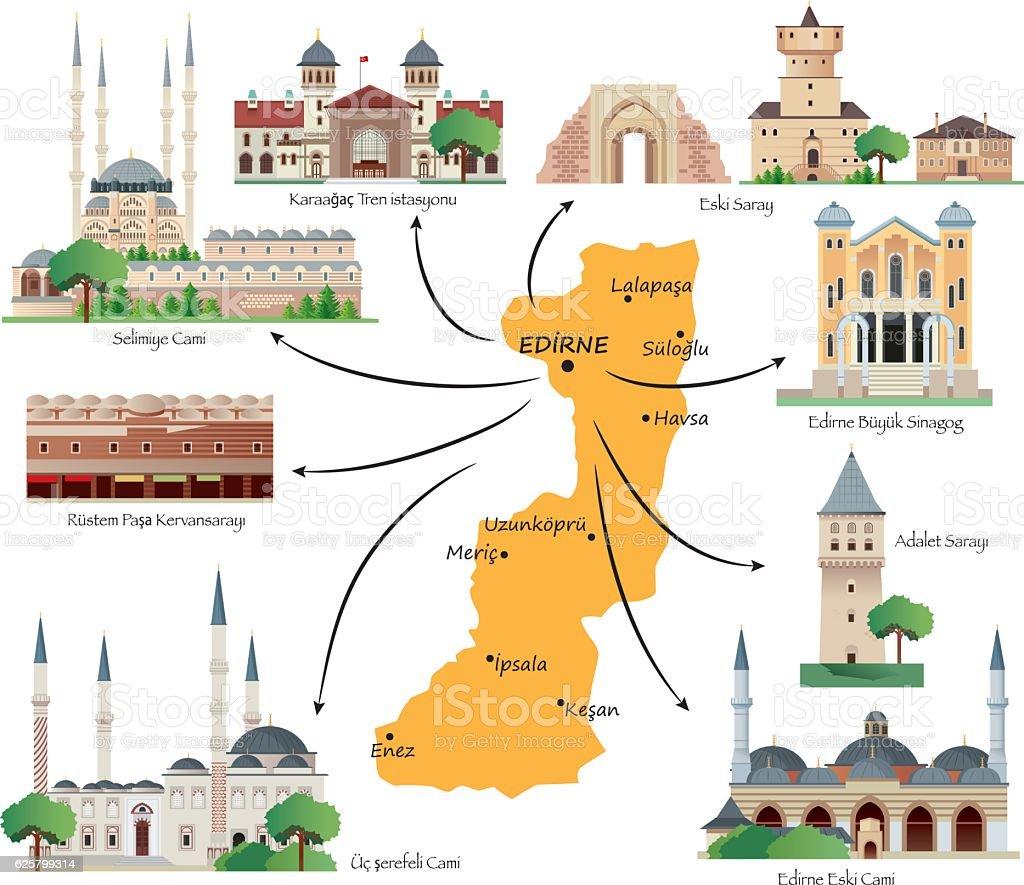 Edirne Travel Map vector art illustration