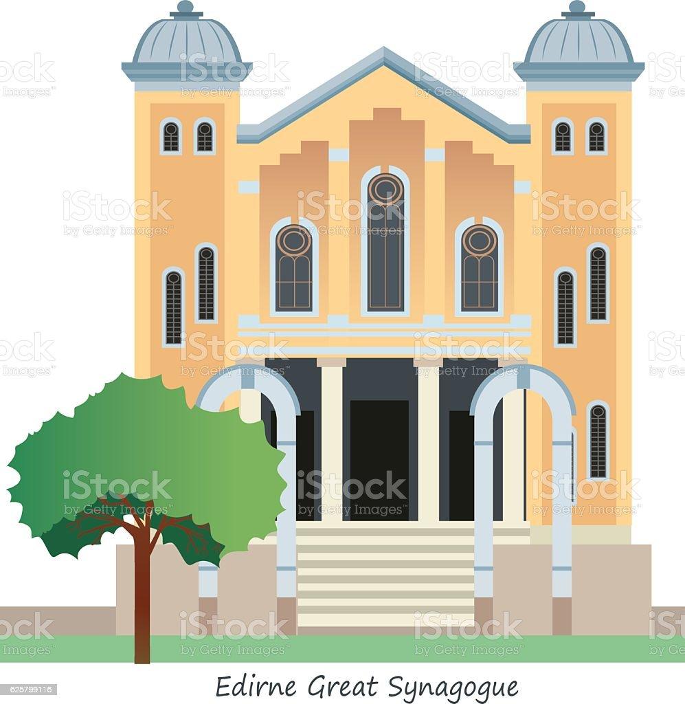 Edirne (Great Synagogue) vector art illustration