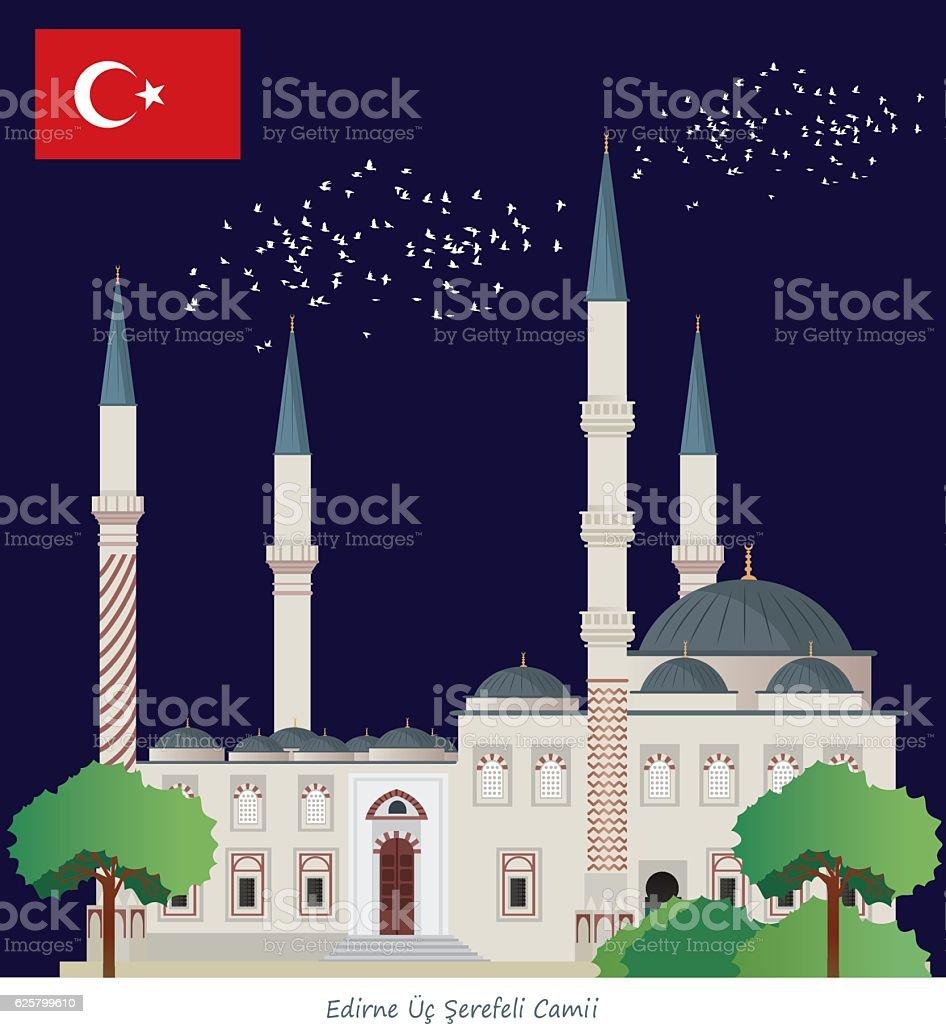 Edirne (Üç Şerefeli Camii) vector art illustration