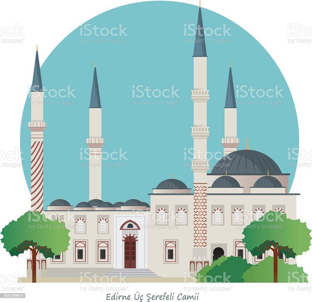Edirne (ÜÇ Şerefeli Camii ) vector art illustration