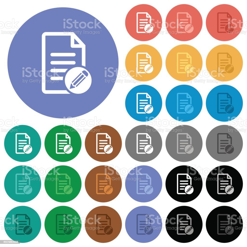 Edit document round flat multi colored icons vector art illustration