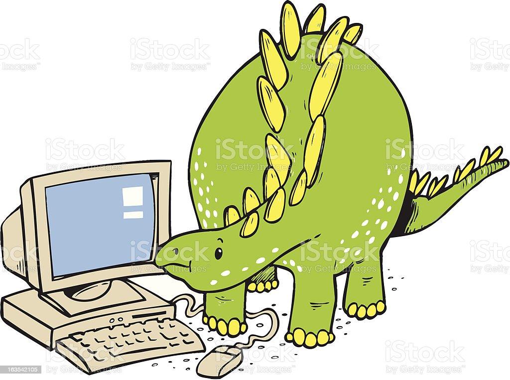 Editable Cartoon illustration of a dinosaur looking at computer vector art illustration