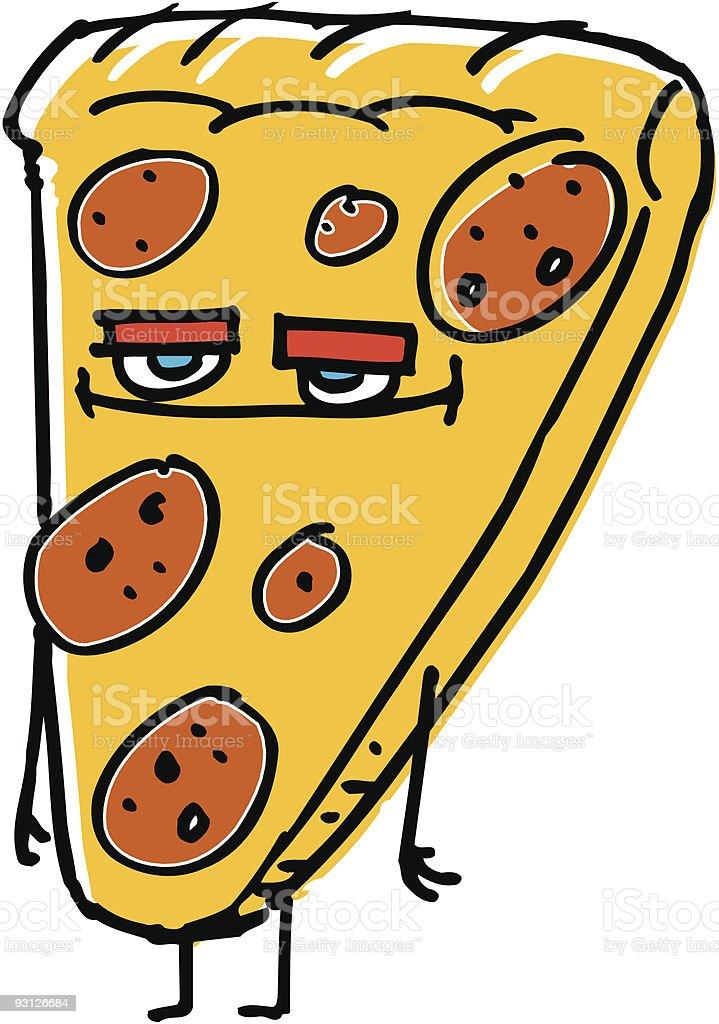 Editable Cartoon illustration of a pepperoni pizza slice royalty-free stock vector art