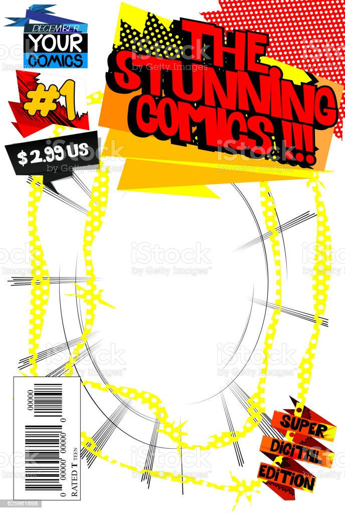 Editable Comic Book Cover Template Stock Vector Art   Istock