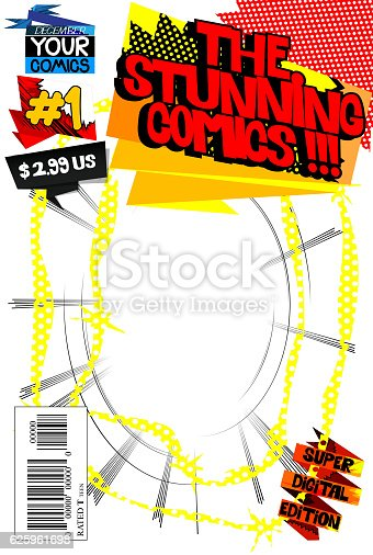 Book Cover Template Editable : Editable comic book cover template stock vector art