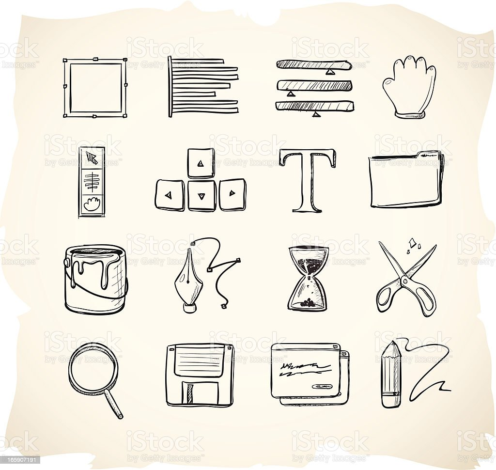 Editing sketch icons royalty-free stock vector art