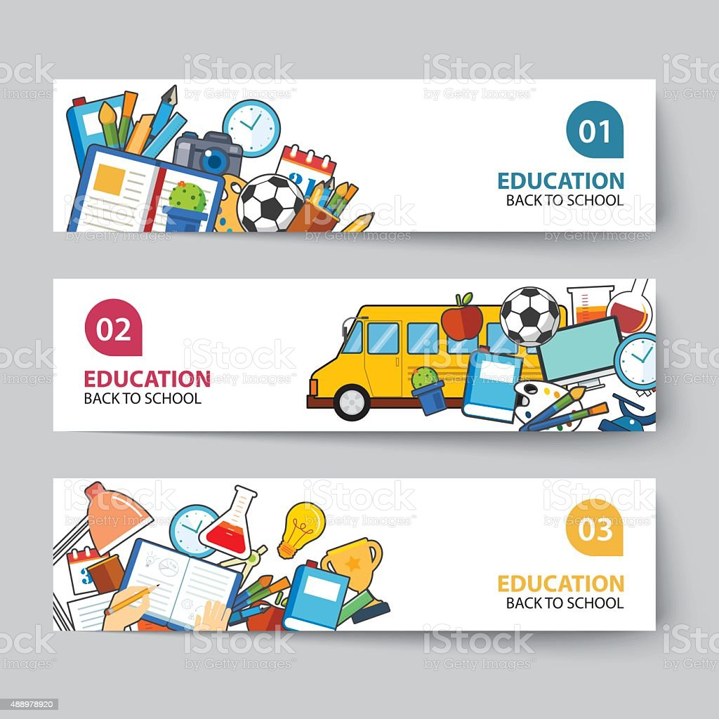 education and back to school banner concept flat design stock