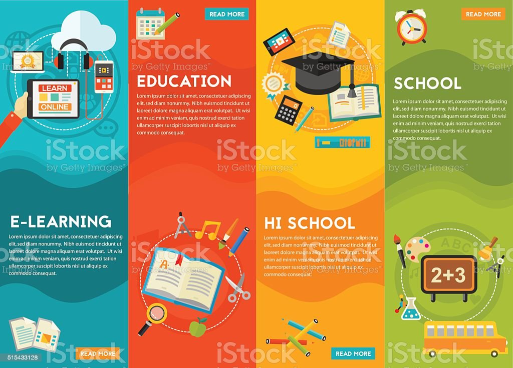 Education and E-learning Concept Banners vector art illustration