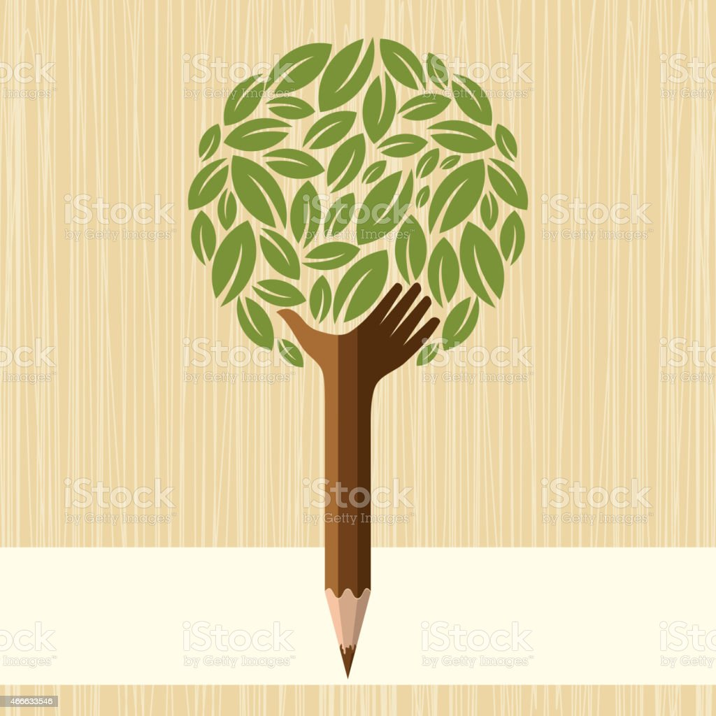 Education and enviornment concept vector art illustration