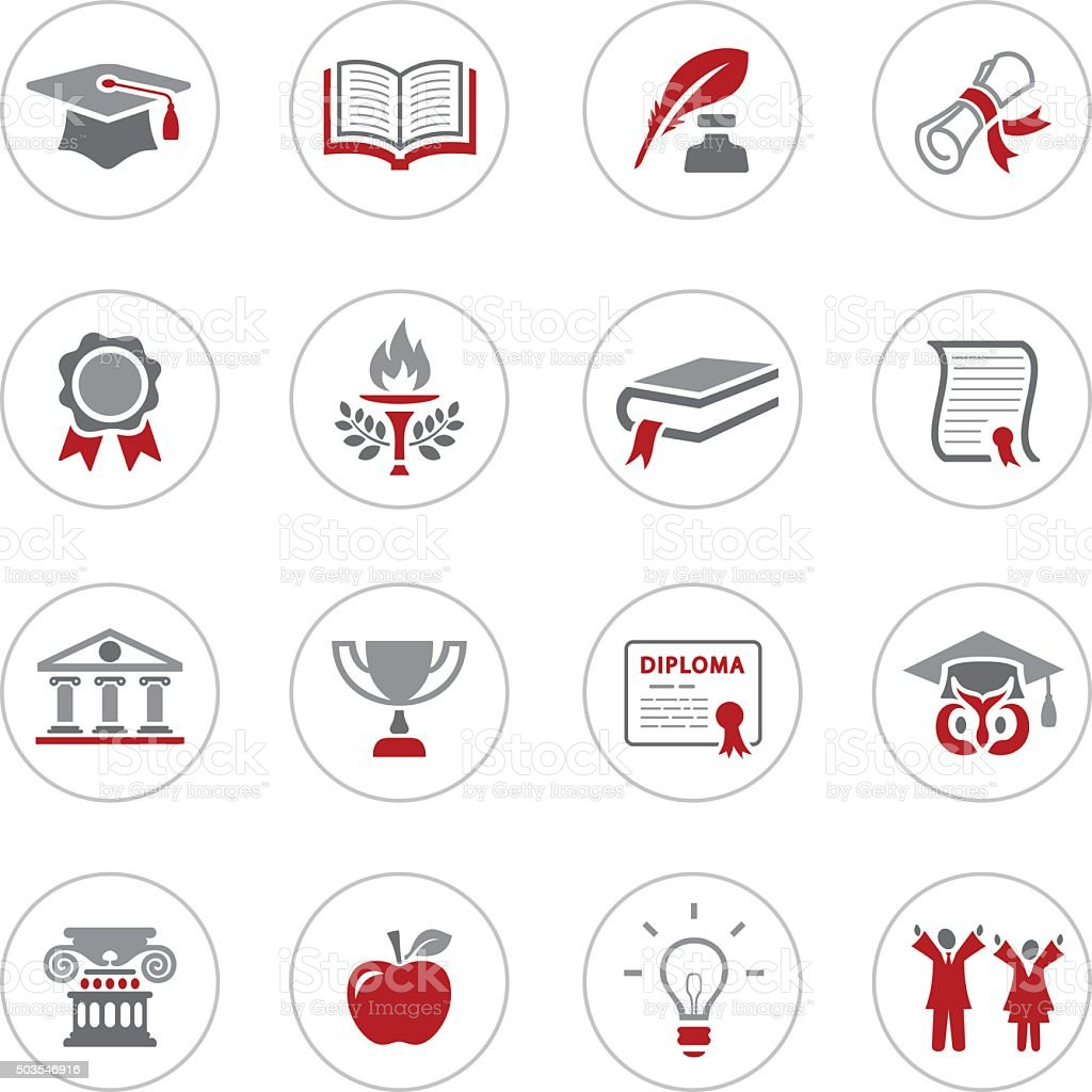 Education and Graduation Icons vector art illustration