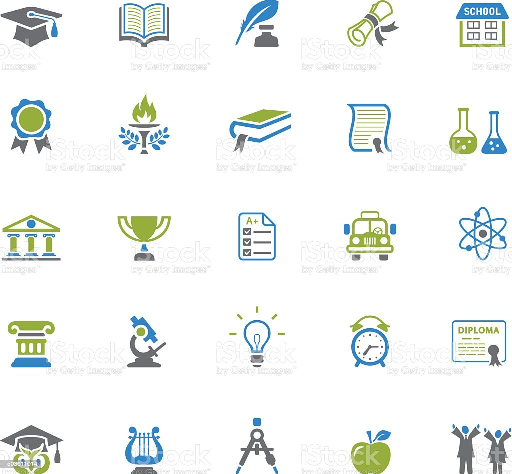 Education and Graduation Icons vector art illustration