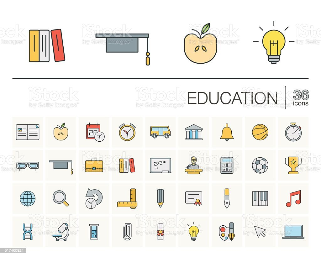 Education and learning color vector icons vector art illustration