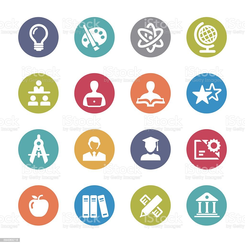 Education and School Icons Set - Circle Series vector art illustration