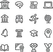 Education and School Icons Set - Line Series