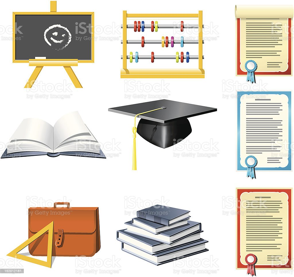 Education and School icons set royalty-free stock vector art