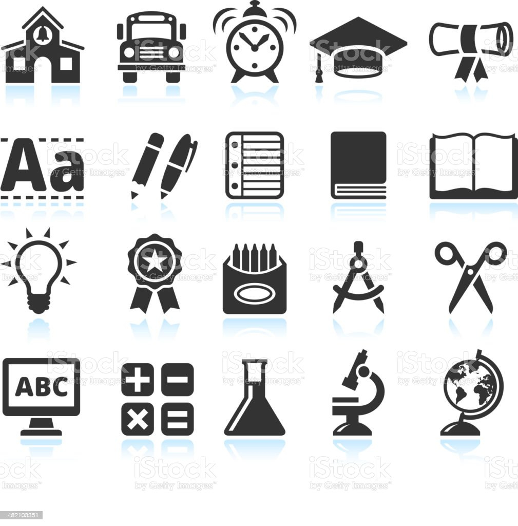 education and school Supplies black & white vector icon set royalty-free stock vector art