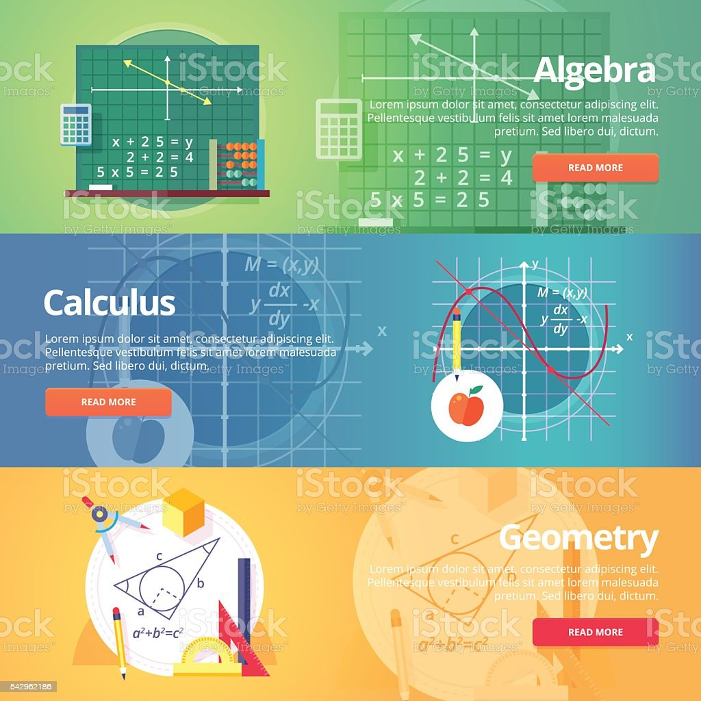 Education and science banners set. Vector flat design concept. vector art illustration