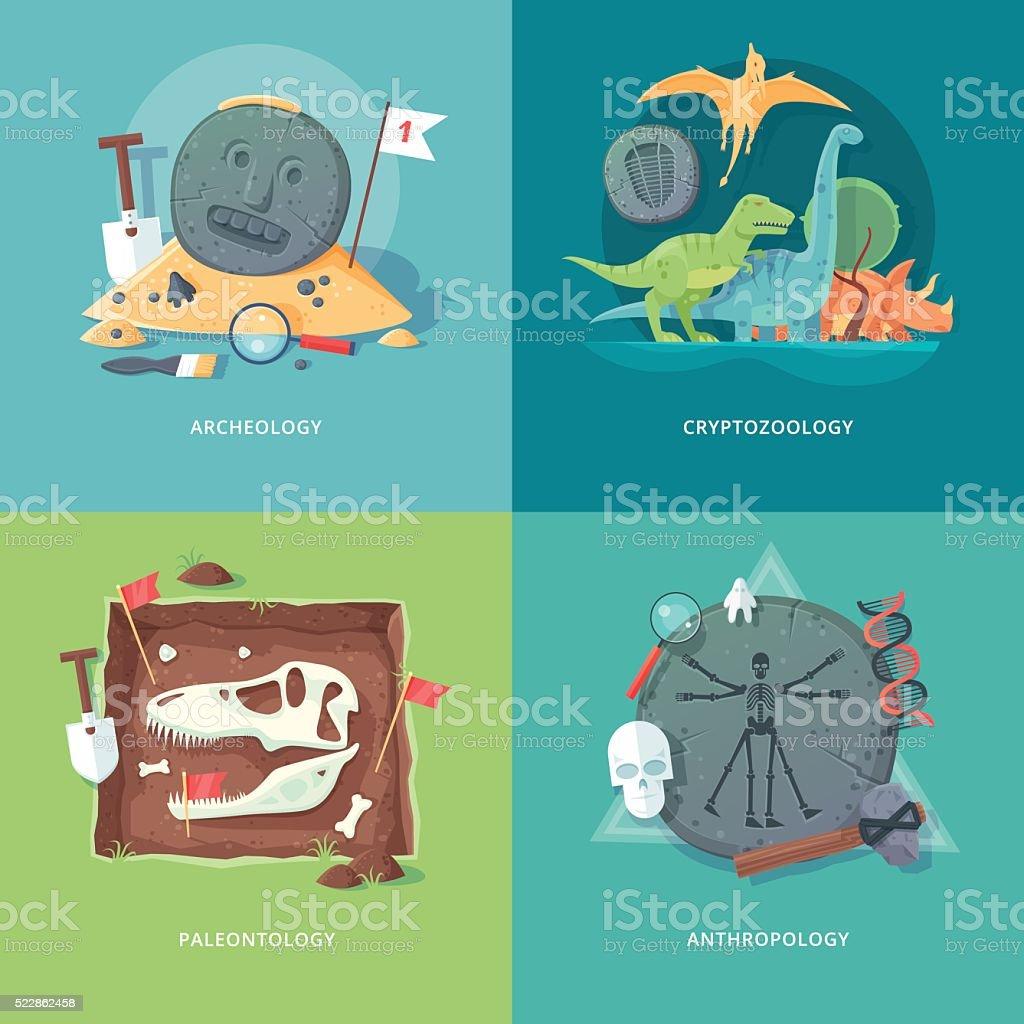 Education and science concept illustrations. Archeology, cryptozoology, paleontology, anthropology. vector art illustration