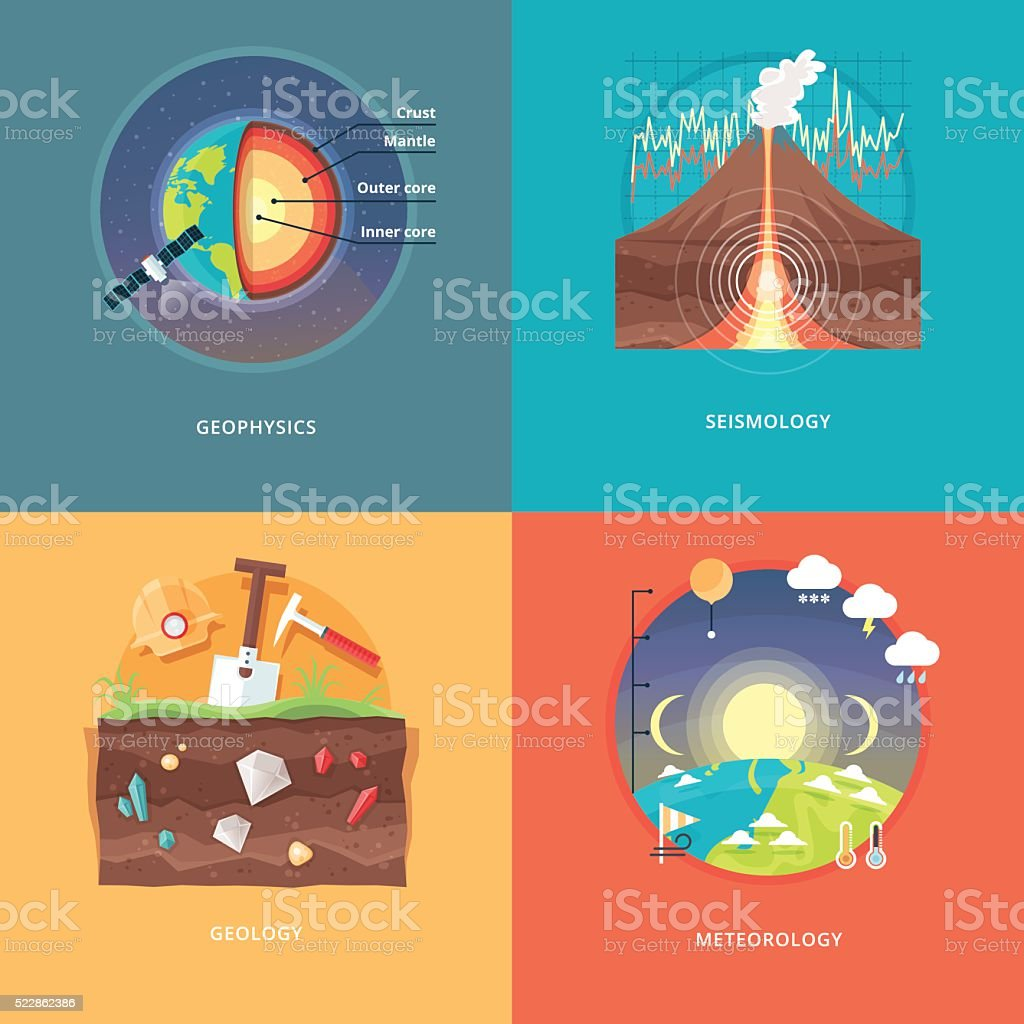 Education and science concept illustrations. Geophysics, seismology, geology, meteorology. vector art illustration