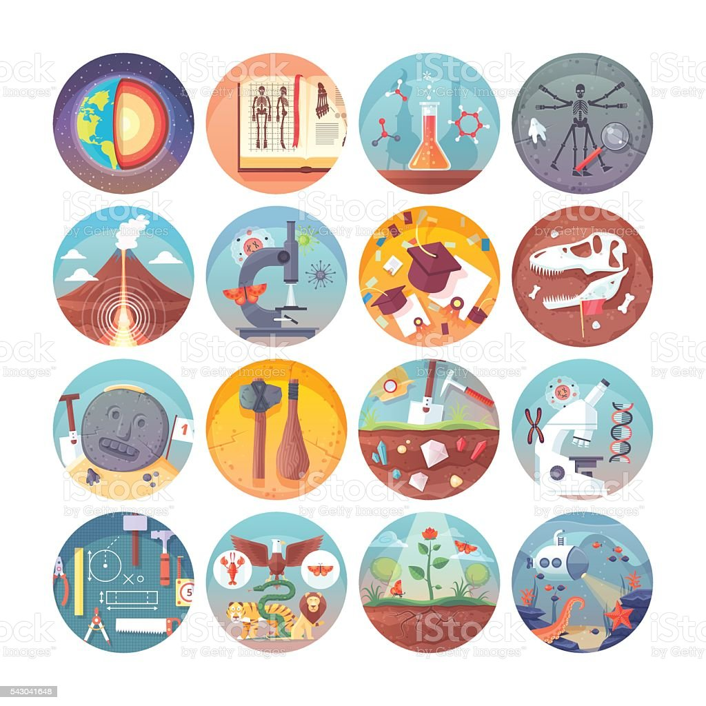Education and science flat circle icons set. Vector icon collection. vector art illustration