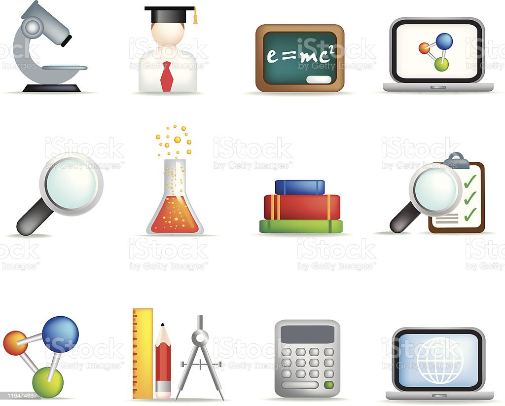 Education and science icon set royalty-free stock vector art