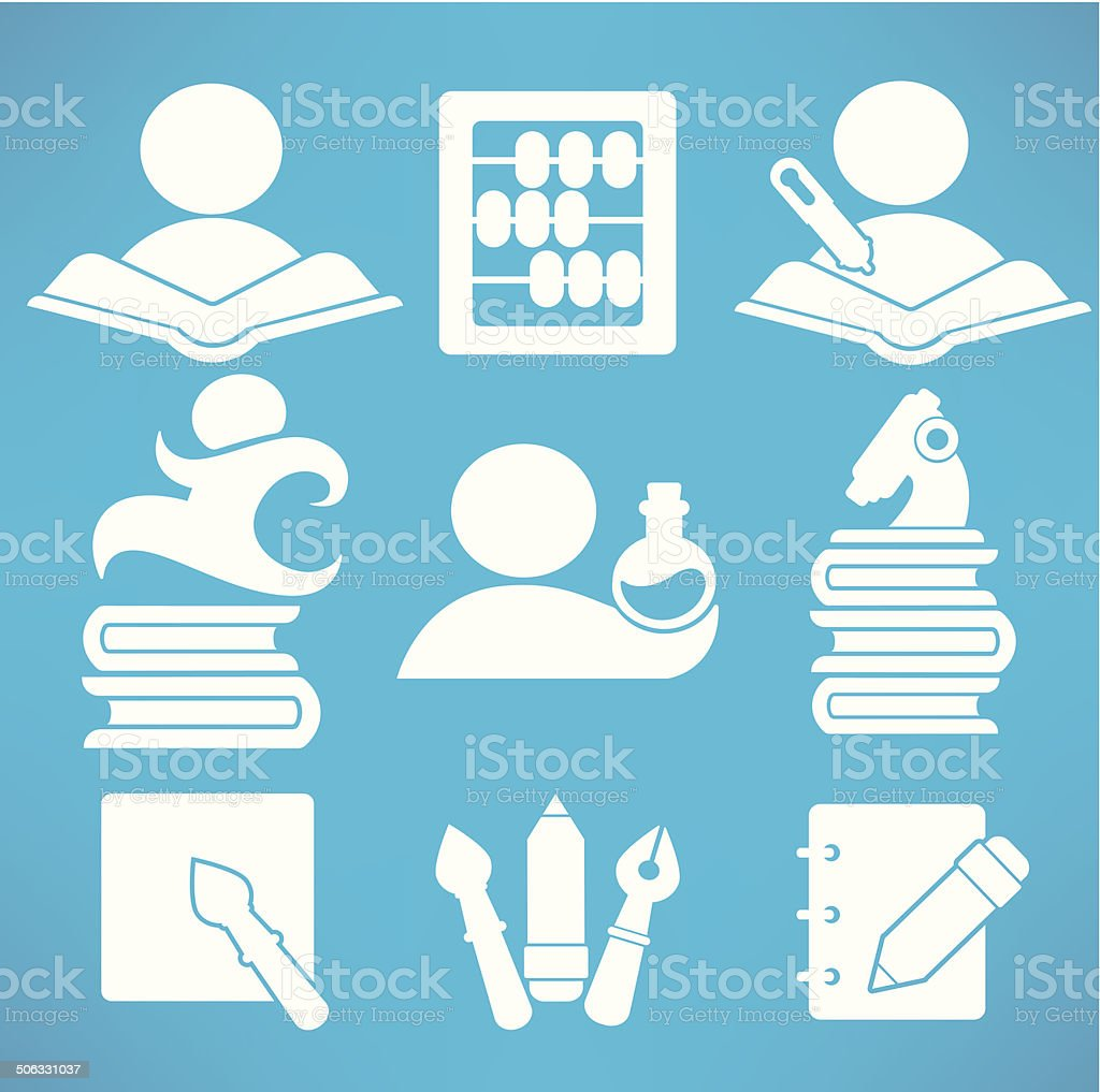 education and science vector symbols and flat icons collection royalty-free stock vector art