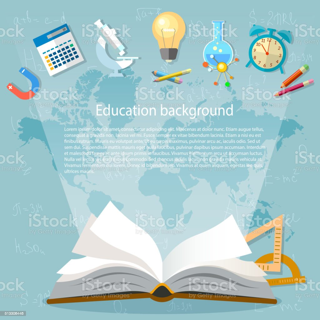 Education Background Open Book Back To School Stock Vector