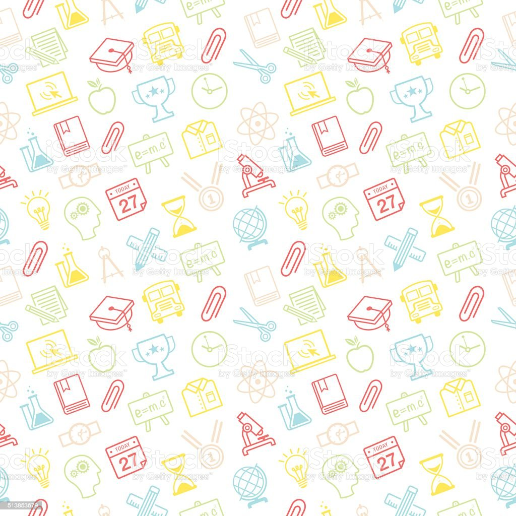 Education Background With Laboratory Vector Vector Art: Education Background Seamless Pattern Stock Vector Art