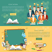 Education banner, students learn, open book knowledge
