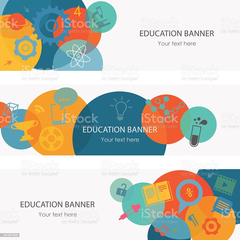 Education Banners vector art illustration