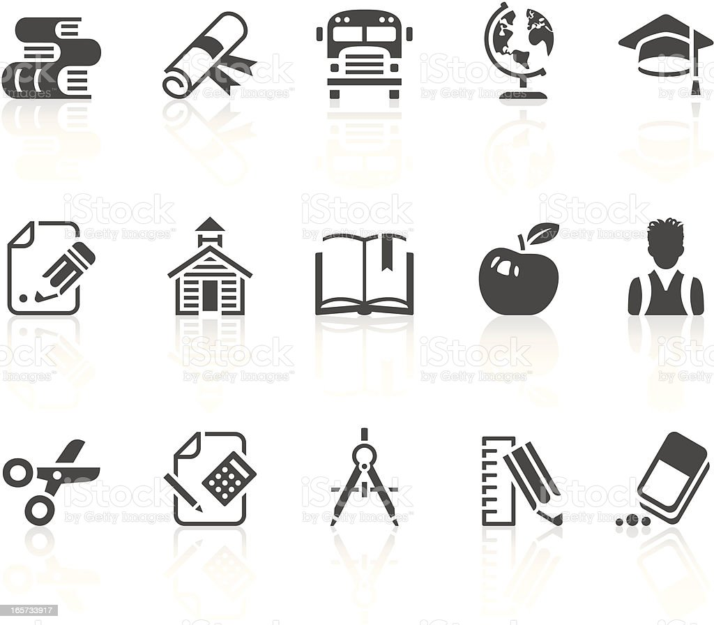 Education black and white icons royalty-free stock vector art
