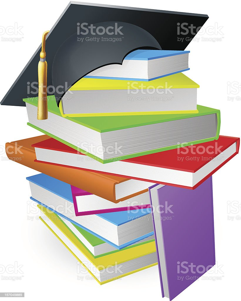 Education book pile graduation hat concept royalty-free stock vector art