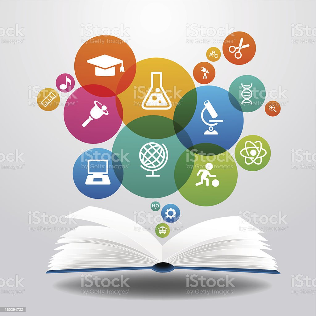 education book with science icons royalty-free stock vector art