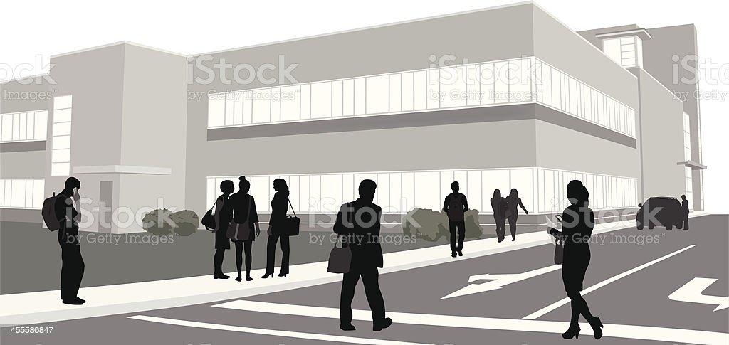 Education Building Vector Silhouette vector art illustration