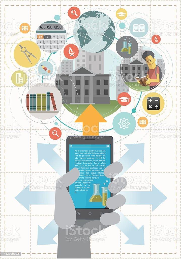 Education by smartphone. vector art illustration