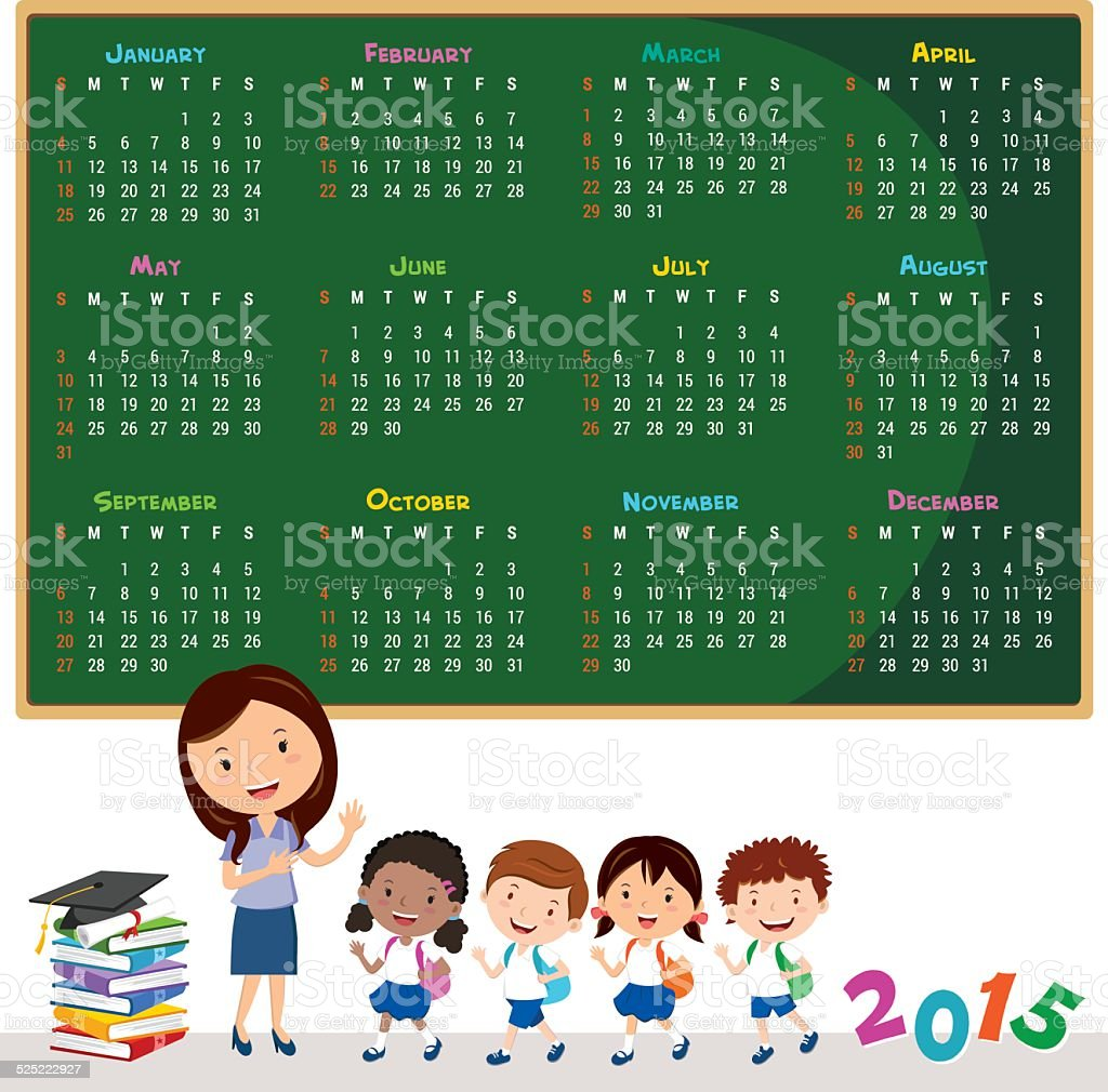 2015 Education calendar vector art illustration