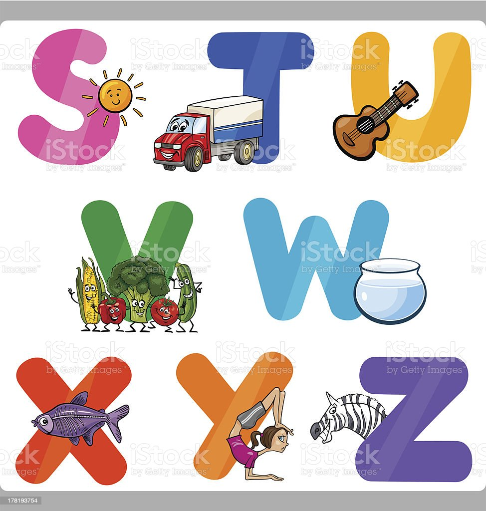 Education Cartoon Alphabet Letters for Kids royalty-free stock vector art