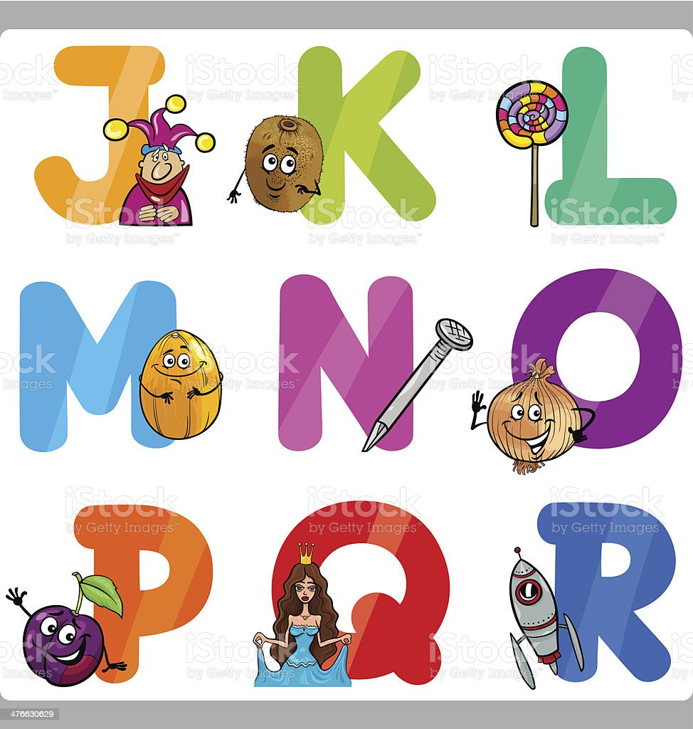 Education Cartoon Alphabet Letters for Kids royalty-free stock vector art