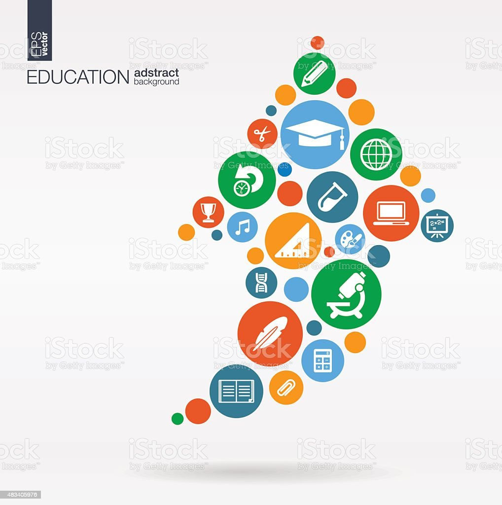 Education color icons in arrow shape abstract background: vector illustration. vector art illustration