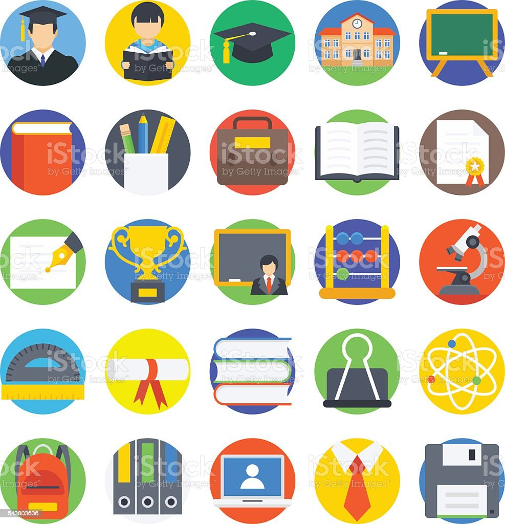 Education Colored Vector Icons 1 vector art illustration