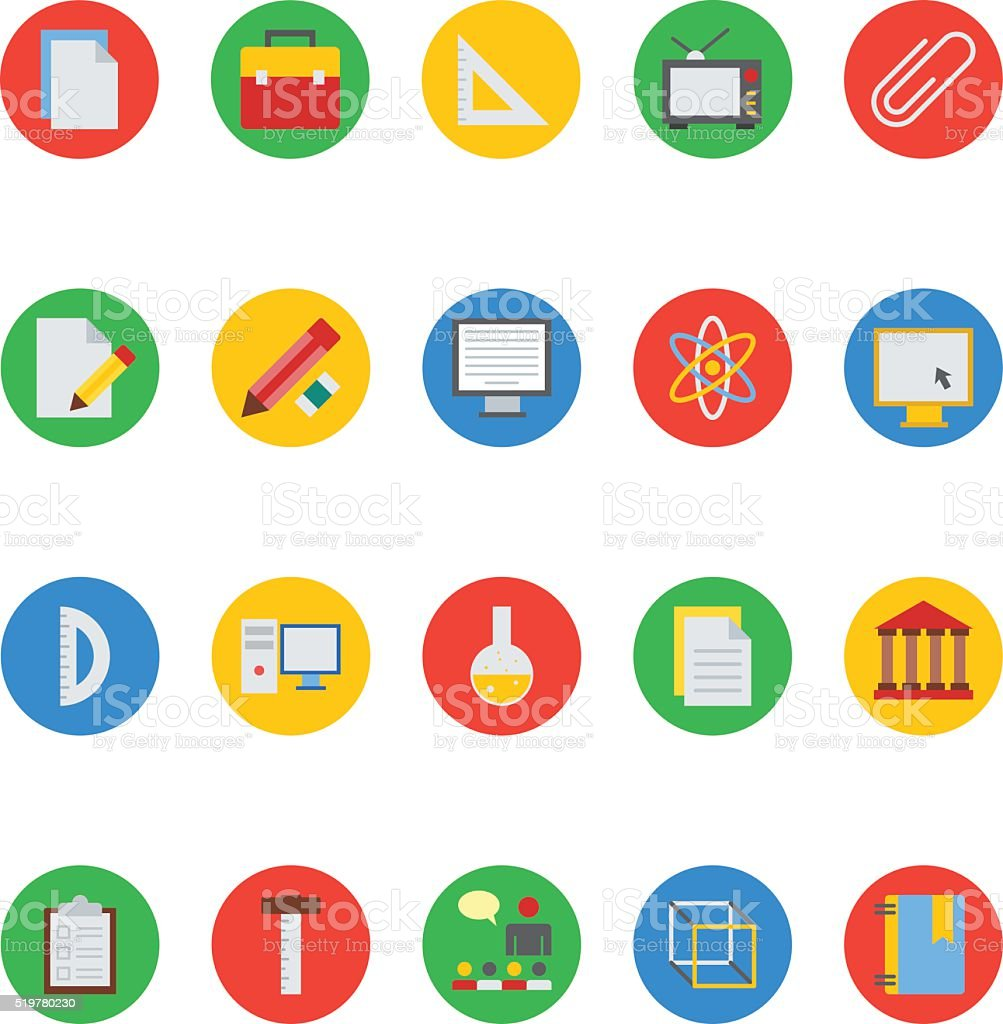 Education Colored Vector Icons 2 vector art illustration