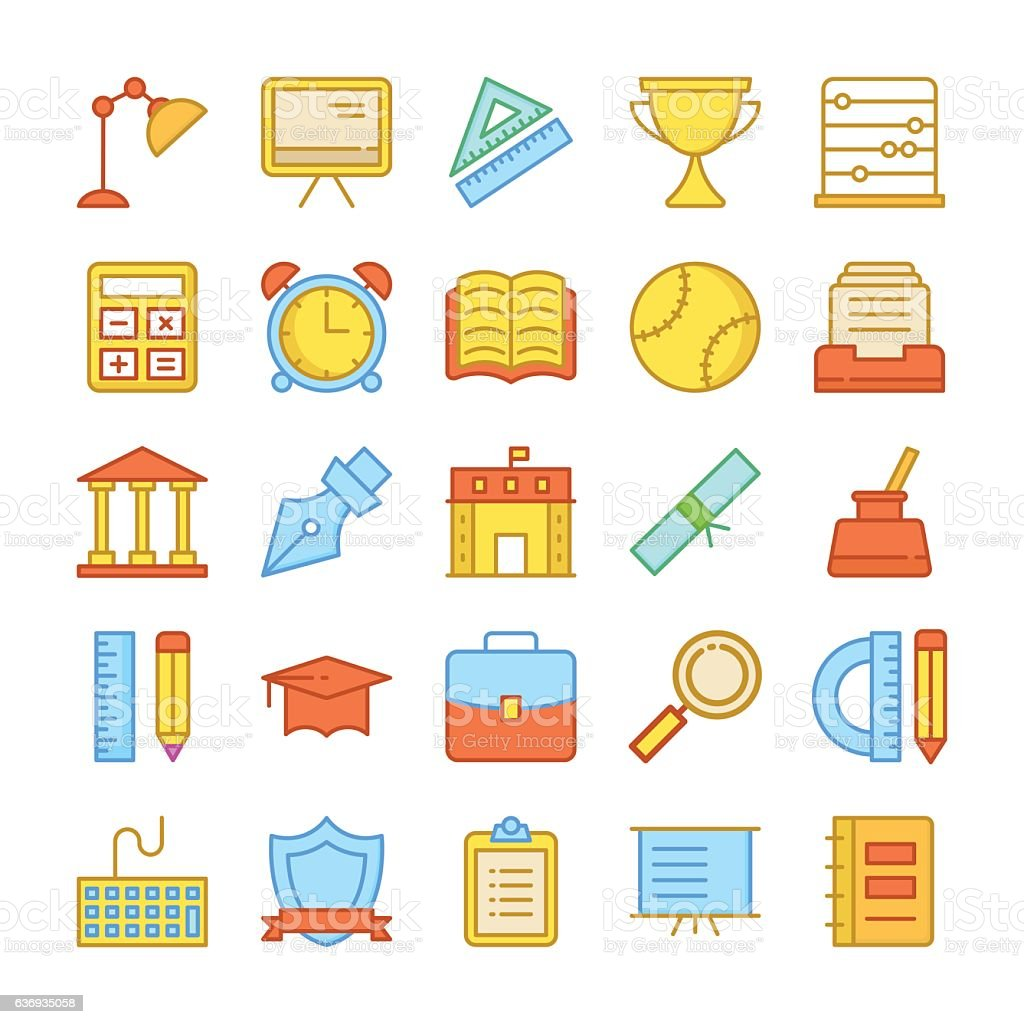 Education Colored Vector Icons 3 vector art illustration