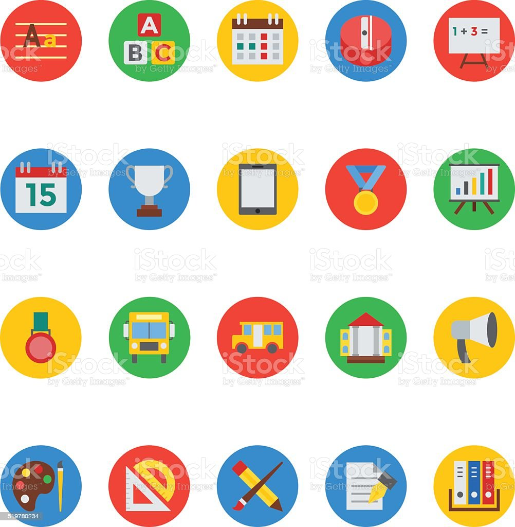 Education Colored Vector Icons 4 vector art illustration