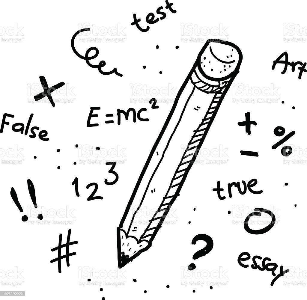Education Concept Pencil Doodle vector art illustration
